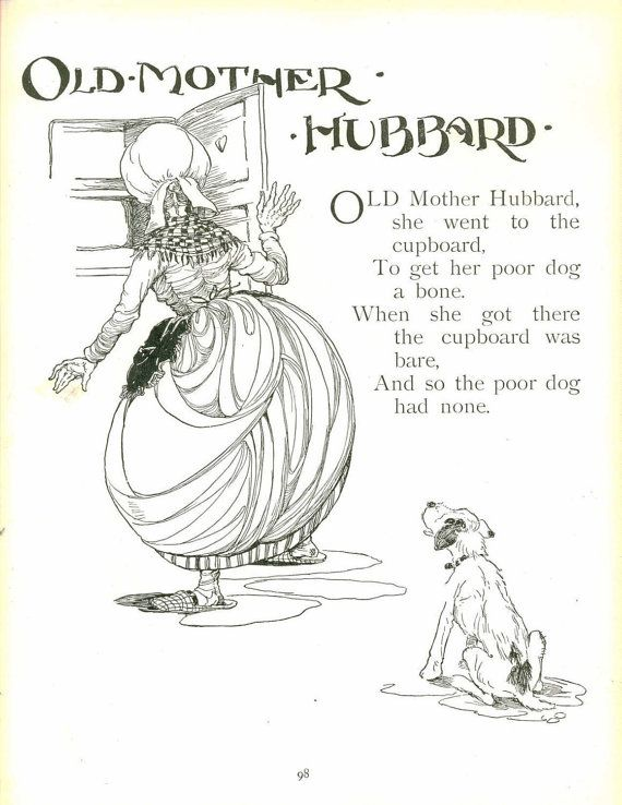 vintage anne anderson illustration old mother hubbard nursery rhyme storybook