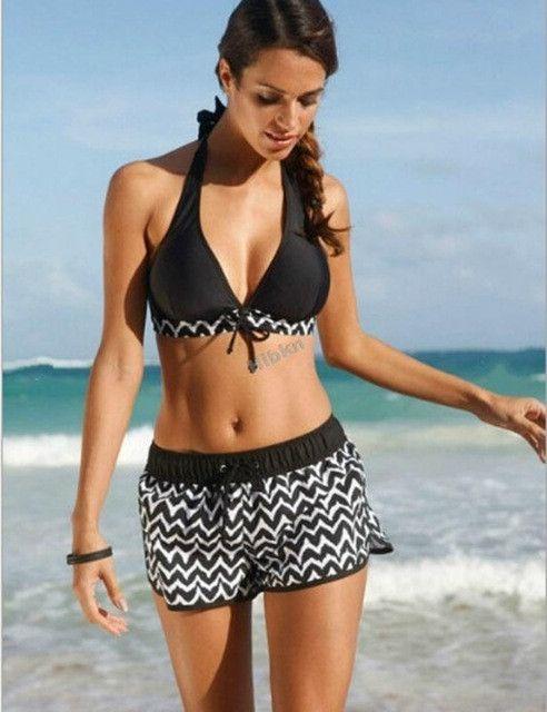 S-5XL Plus size ruffled sport swimwear Plus size Two pieces swimsuit beach shorts swimwear stripes fitkini retro beachwear
