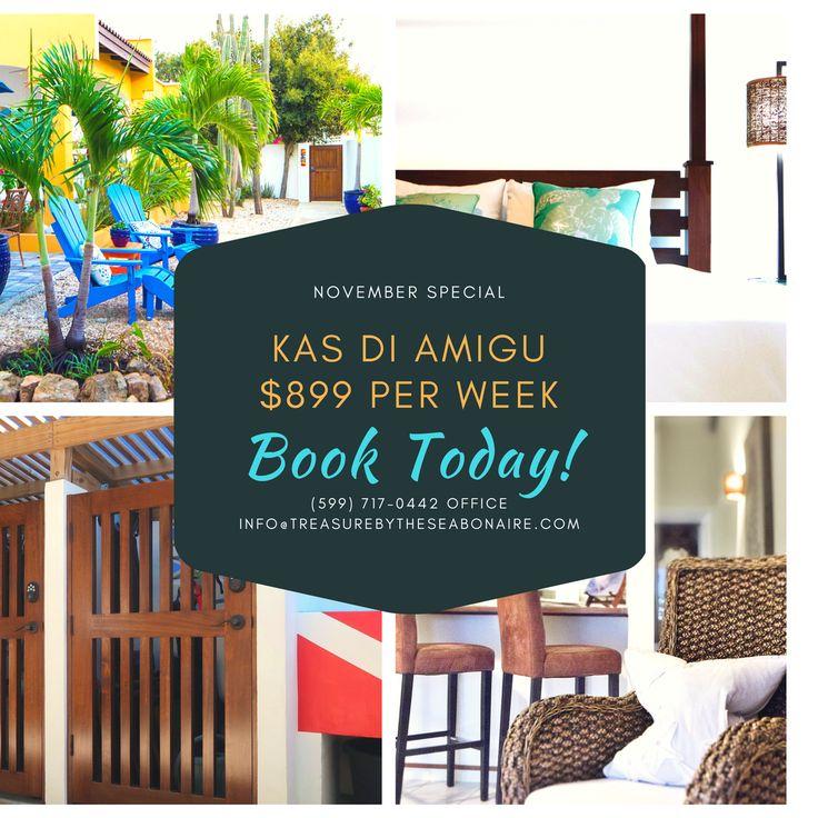 November Special!  Kas di Amigu $899 per week!   Book your vacation to Bonaire NOW  Treasure By The Sea Bonaire Vacation Rentals Kas di Amor, Kas di Amigu, Kas di Alegria Casa Topana & Casa Macabi Kas Kibrahacha info@treasurebytheseabonaire.com 599.717.0442 office / 599.782.3144 cell/whatsapp  #special #savings #vacation #holiday #vacationhome #vacationrental #house #homeawayfromhome #bonaire #treasurebythesebonaire #kaskibrahacha #apartment #rental #weeklyrate #sun #beach #fun #holiday…