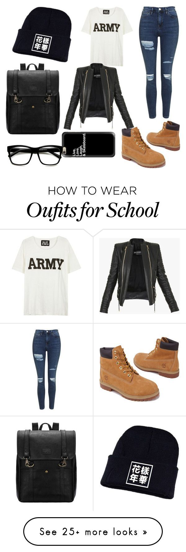 School mood by kimie-hunie on Polyvore featuring Timberland, Topshop, NLST, Casetify, Retrò and Balmain
