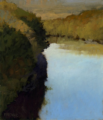 Marc Bohne: Bend in the River, 7 x 6 inches, oil on panel