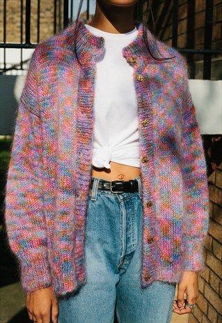 Retro pastel mohair cardigan sweater