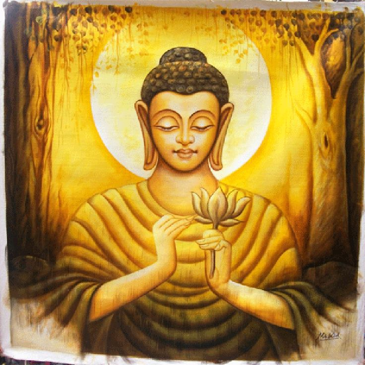 Buddha in yellow painting cool unique handmade stuff for Buddha mural paintings