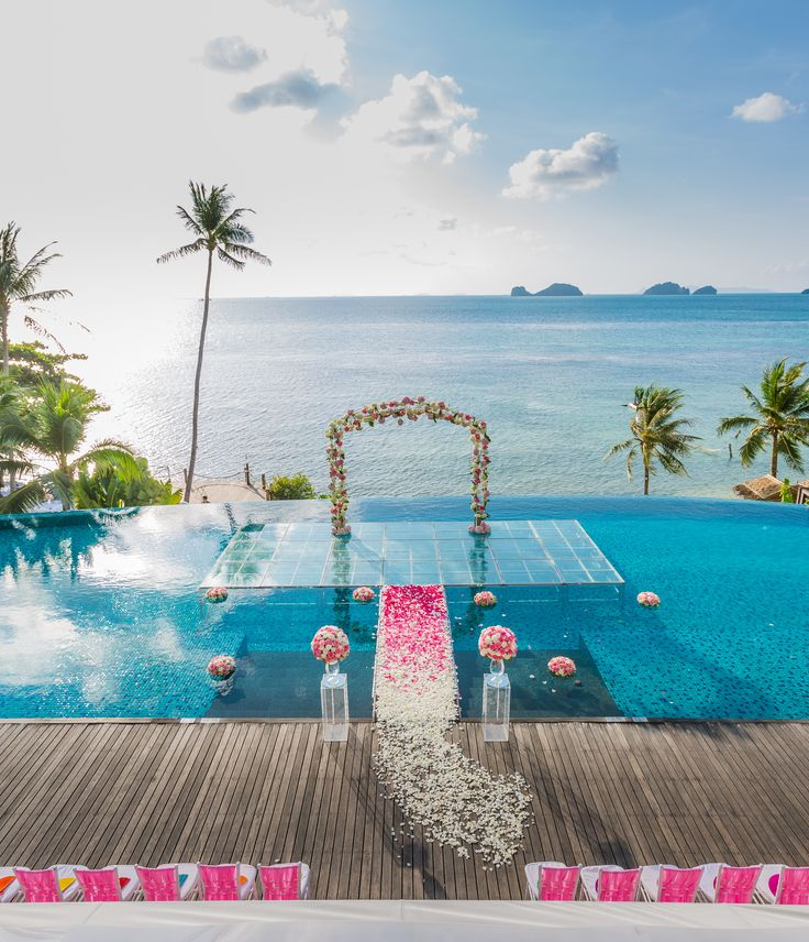 the unique wedding concept over water wedding ceremony at conradkohsamui thailand