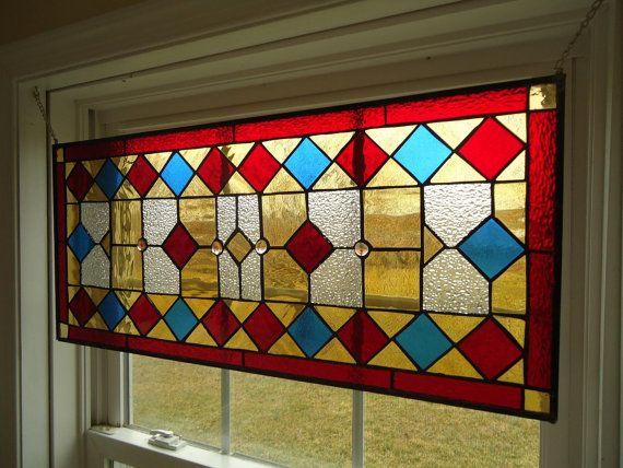 "Stained Glass Transom Window Suncatcher Panel Valance 30"" x 13.5"" on Etsy, $210.00"