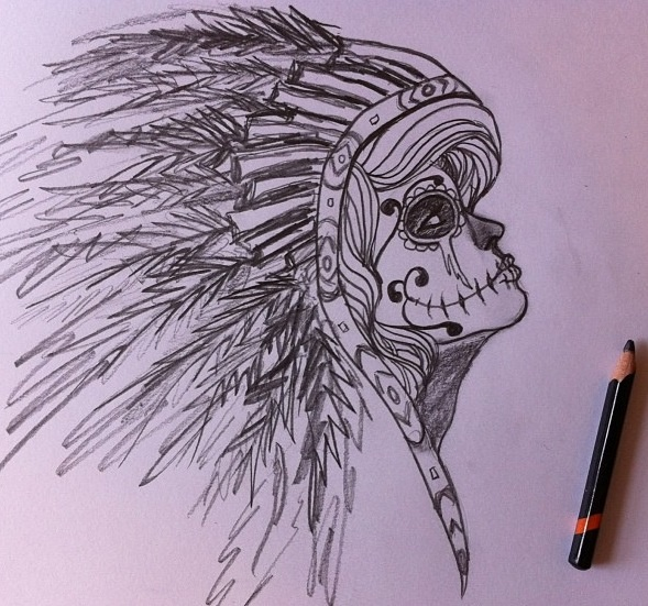 Sugar skull Indian sketch.