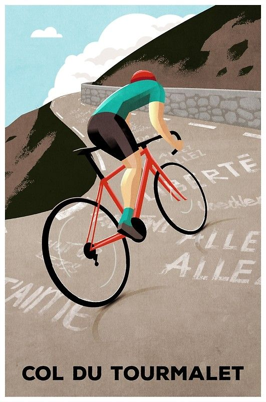 A classic climb from the Tour de France. / Original cycling poster by Andrew Rose for Super Chéz Bro.