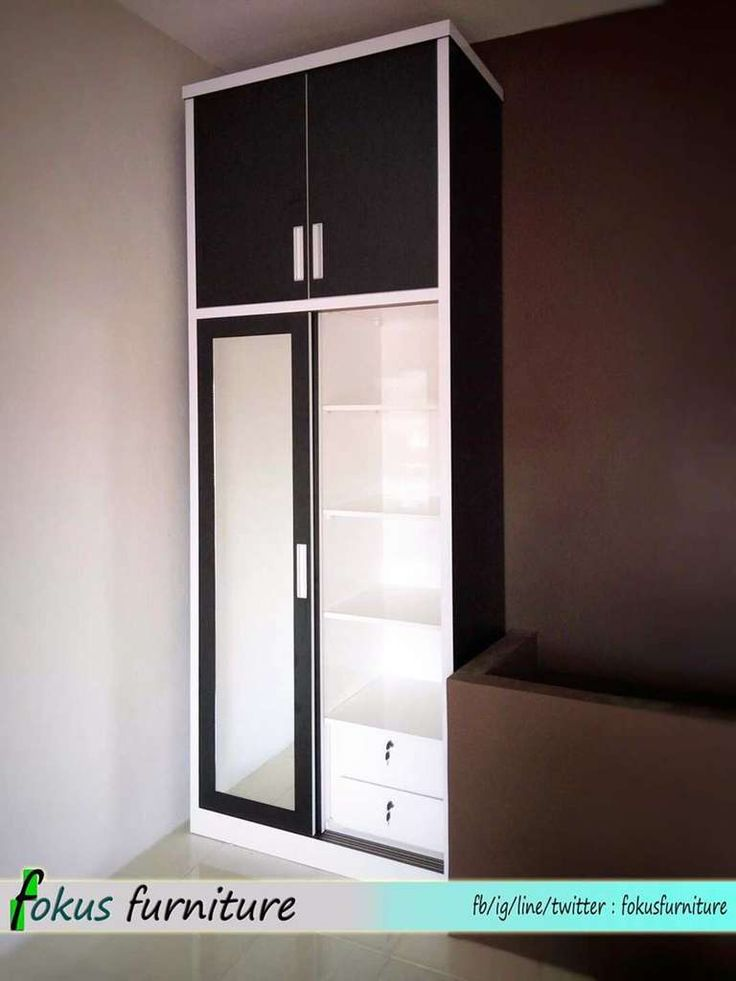 Lemari 2 pintu sliding hitam putih