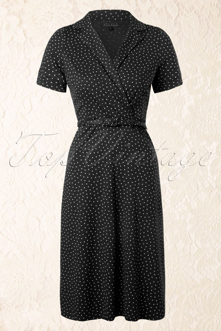 King Louie - 40s Polo Cross Little Dots Dress in Black