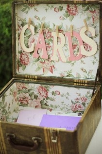 https://www.facebook.com/floralsensecreation Old style suitcase. Hand written well wishes cards in envelopes. Delightful. #vintage #wedding #decoration #floralsensecreation #cards