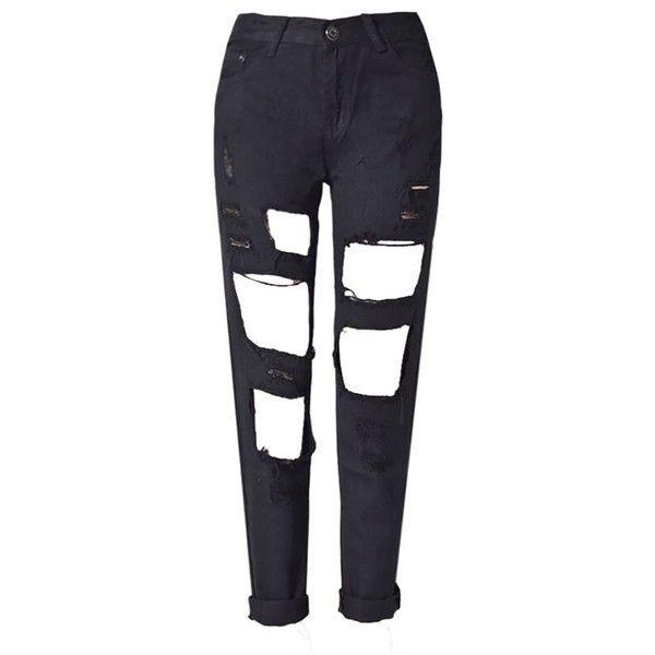 RieKet Distressed Boyfriend Dipped Jeans for Women (27, Black) at... ($28) ❤ liked on Polyvore featuring jeans, torn jeans, destructed jeans, distressed jeans, distressing jeans and destructed boyfriend jeans