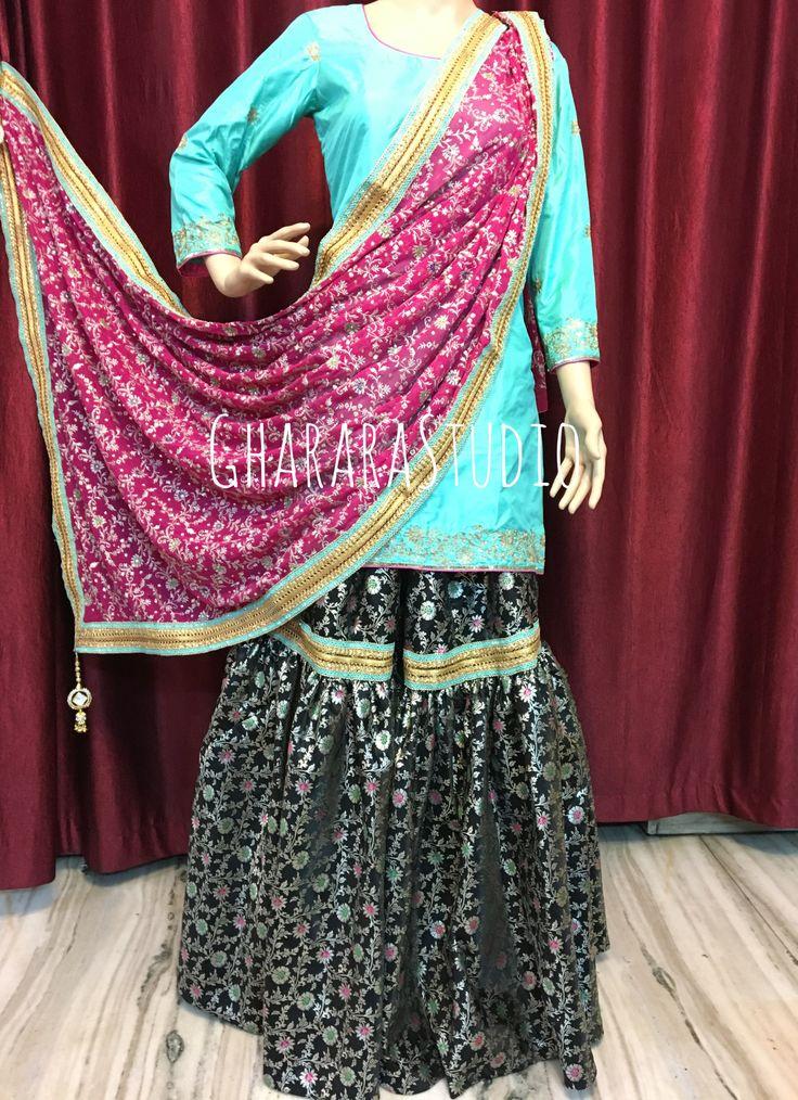 Black Gharara with pink dupatta and sea green Kurti.  ORDER ONLINE at 9971865919  #Gharara #ghararastudio #ghararastudiobyshazia #ghararadesign #ghararah #ghararafashion #ghararalove #ghararadesign #bridal #bride #wedding #weddingdress #weddings #nikah #fashion #fashionblogger #fashionstylist #fashiongram #fashionblog #blog #indianfashionblogger #indianfashion #indianstylist #indiandress #indiantradition #instafashion #buyghararaonline