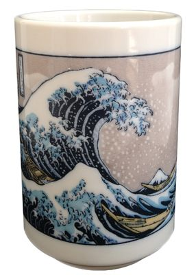 """Enjoy your cup of tea in this beautiful ceramic tea cup featuring Hokusai's """"Great Wave"""""""