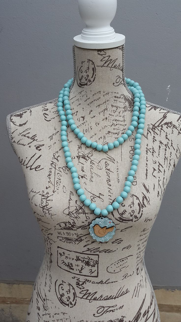 Blue Wooden Necklace