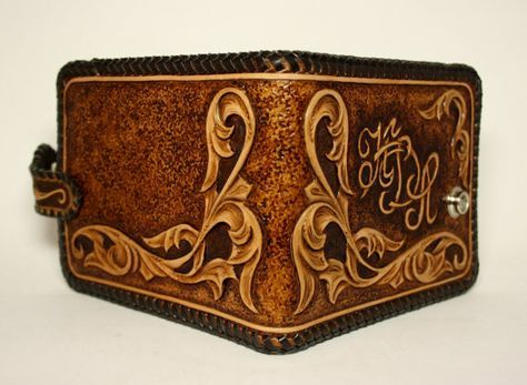 Handmade leather hand-tooled mens wallet with by PFLeatherGlass