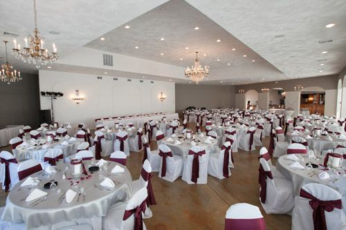Burgundy Satin Chair sashes give our Pavilion a pop of Color and Class