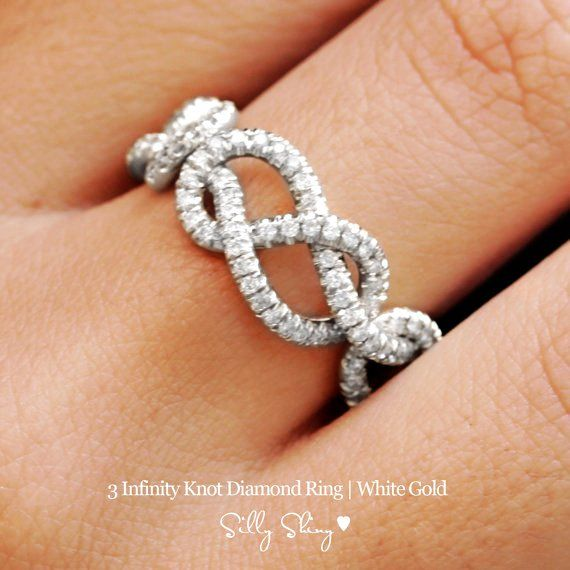 infinity diamond band - 3 infinity knots pave diamonds 14k gold-f53481.jpg 570×570 pixels