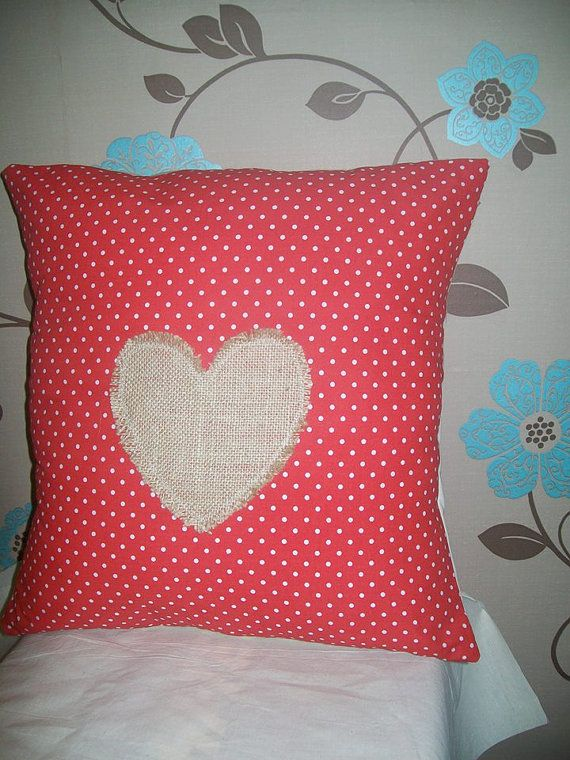 Red and White Polka Dot Hessian Heart Cushion Cover by TyCwtch, £7.00