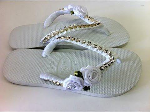 ff706c5db7 Resultado de imagem para chinelos decorados com fita de cetim trançada  passo a passo