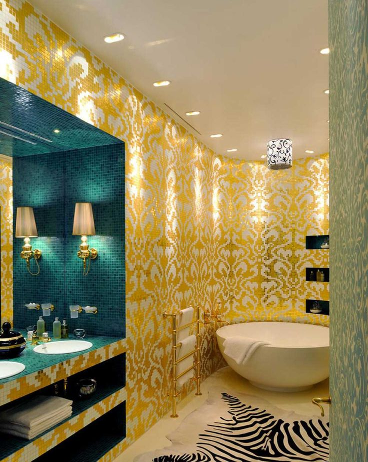 Orange Bathroom Paint Ideas With Yellow All Plus Round Bathtub And Wall Lighting