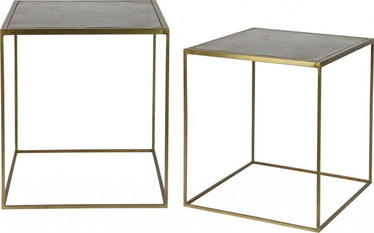 Bepurehome Set V - 2 Metallic Bijzettafels Vierkant Metaal Brass 40X40