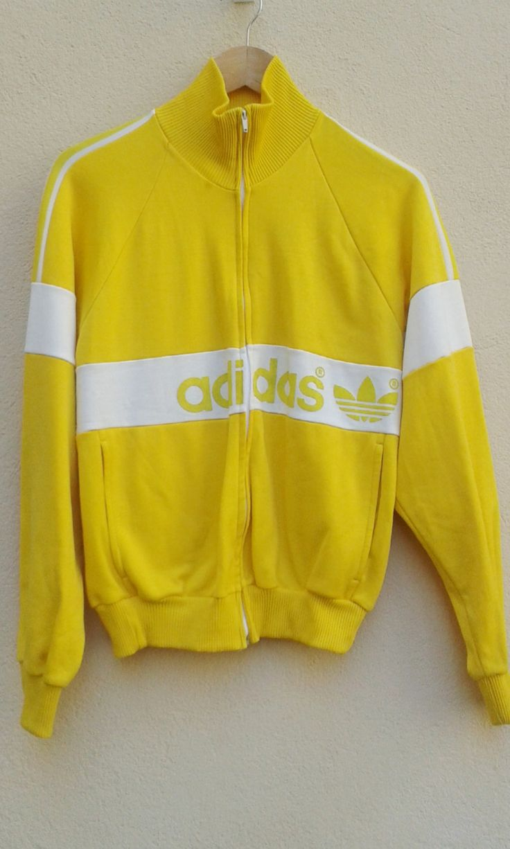 70s80s TRACKSUIT JACKET ADIDAS big logo rare trefoil yellow+white zip up/ unisex…