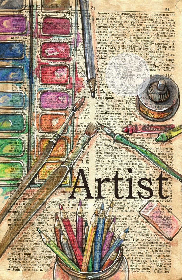 Artist mixed media drawing on collegiate dictionary edition - flying shoes art studio