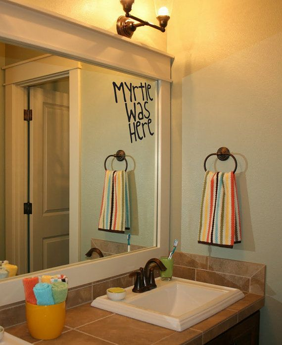Harry Potter Moaning Myrtle Was Here by PeelAndStickDecals on Etsy, $9.99...this would be friggin hilarious to put on the mirrors at work