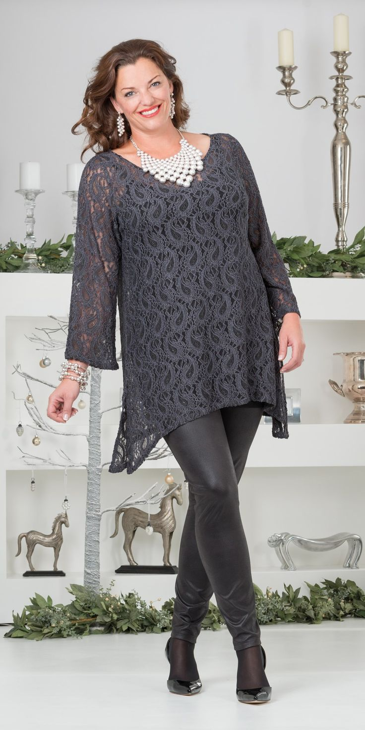 Kasbah slate grey lace tunic, vest and trouser #slimmingbodyshapers   Feel like a million bucks in this plus size outfit  This elegant fit and flare style is beyond flattering; designed with all-over stretch. Sleeves and neckline add a feminine touch slimmingbodyshapers.com