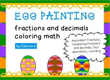 Coloring puzzles to reinforce understanding of fractions and decimals: equivalent fractions, comparing fractions and decimal numbers, for operations, rounding to the nearest tenth. Fourth grade and up. $
