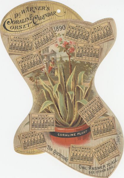 Dr Warner's Coraline Corset Calendar - trade card, 1890. Source: Miami University Libraries