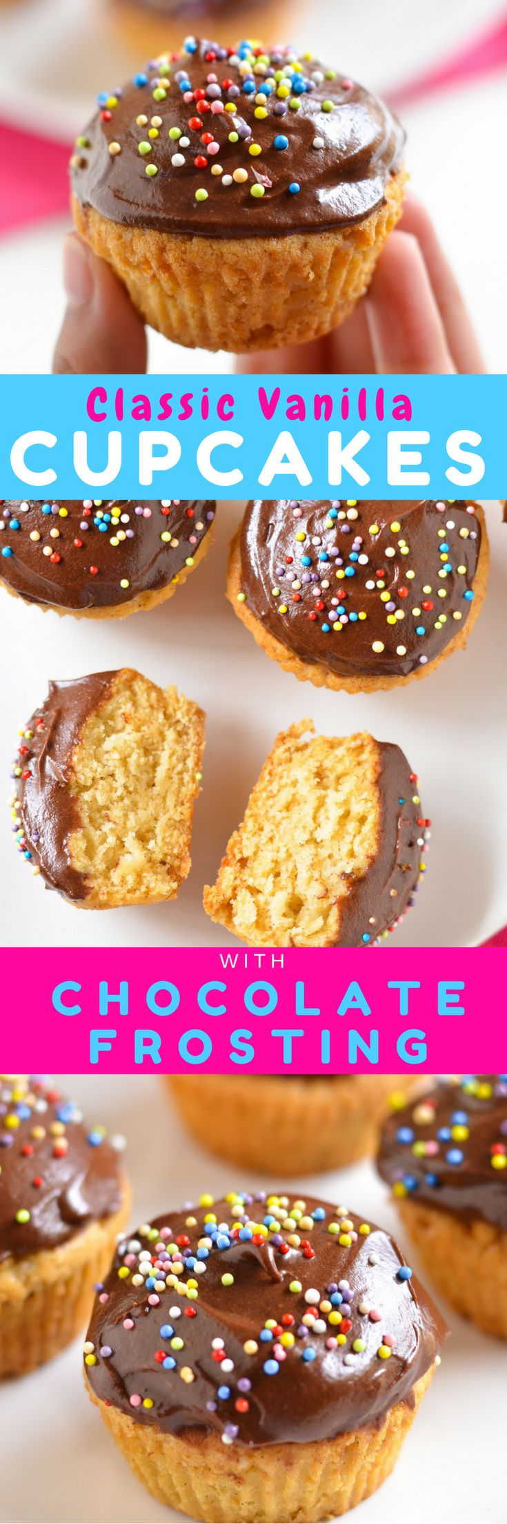 Moist #Classic Vanilla #Cupcakes with Chocolate Frosting come easy and #eggless with this simple #recipe!#fromscratch #homemade #homemadecake #desserts