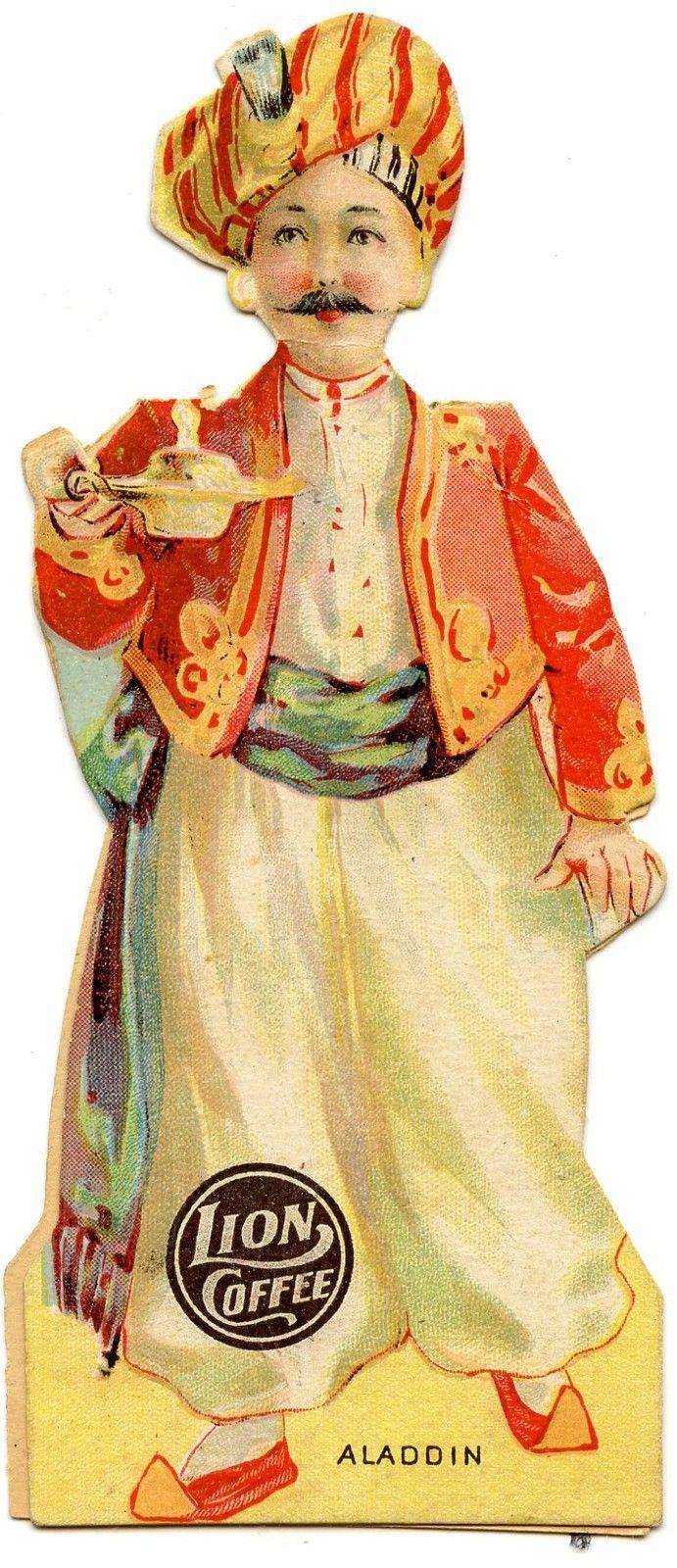 Circa 1880 S Lion Coffee Die Cut Paper Doll Aladdin And