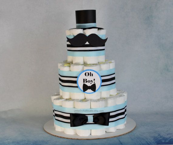 Little man Baby shower/ Mustache baby shower/ Bow tie/ Diaper cake for Boys…