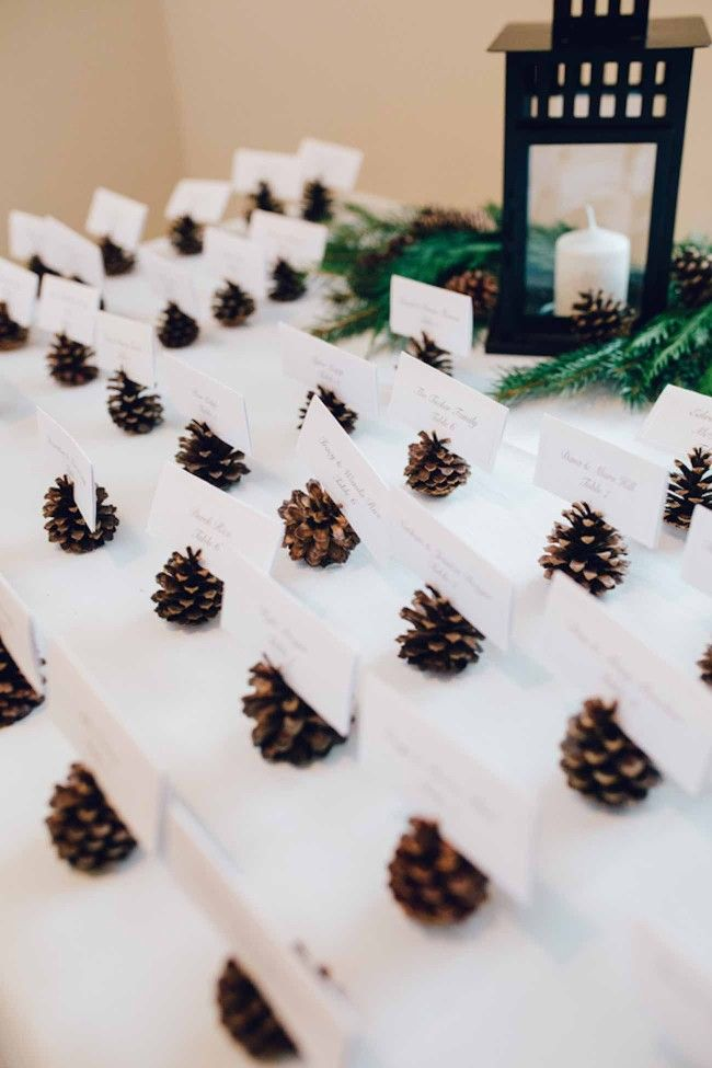Pine cone escort name card holders. So easy to make. Click to see this Wonderfully Woodsy Winter Wedding in Purple and Green - Ctg Photography http://www.confettidaydreams.com/winter-woodsy-wedding-purple-green/