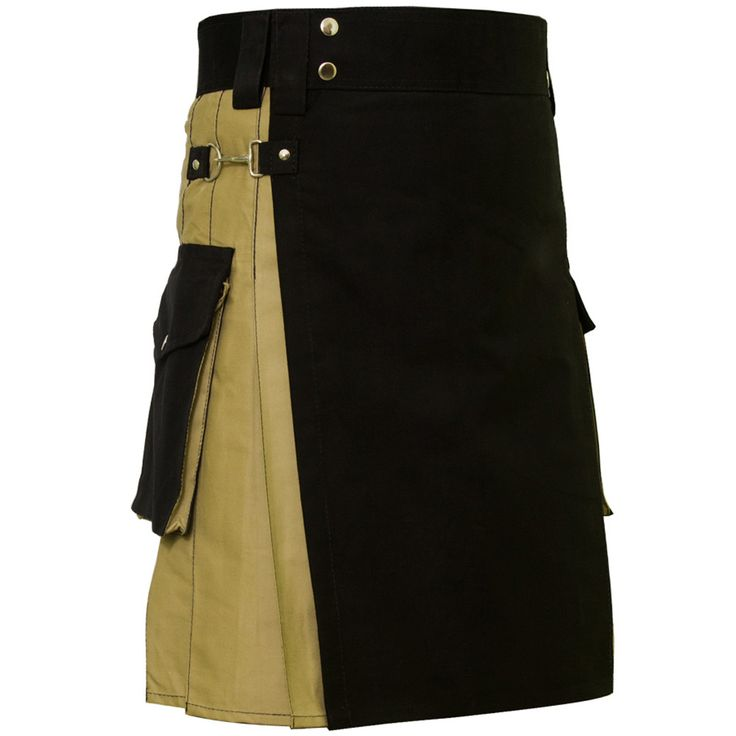 Black & Khaki Cargo #Kilt. Our handmade #kilts are built to last and will withstand any manly task you put them up to. The style is traditional with added functionality. The custom #button placement and #buckle closure give our #kilts a unique flare you won't find anywhere else.Visit our online kilt shop we offer most authentic and latest. www.royalkilt.com http://royalkilt.com/kilts/modern-kilts/black-khaki-cargo-kilt.html