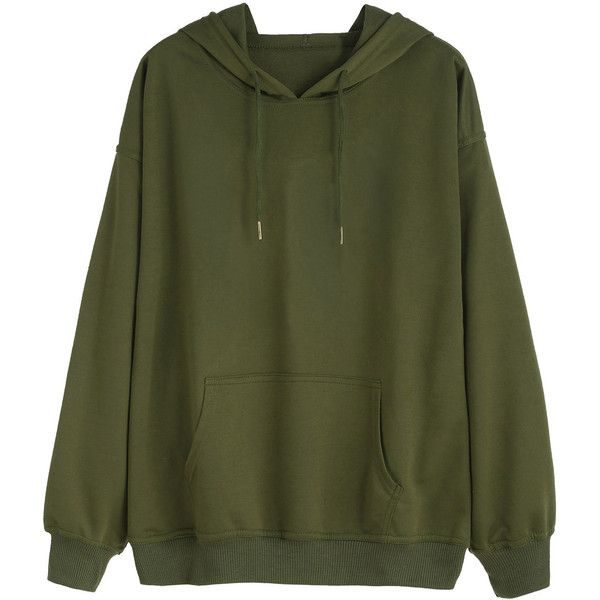 Army Green Drawstring Pocket Hooded Sweatshirt (€14) ❤ liked on Polyvore featuring tops, hoodies, sweatshirts, sweaters, sweatshirt, shirts, green, pullover hoodie, long sleeve hoodie and long-sleeve shirt