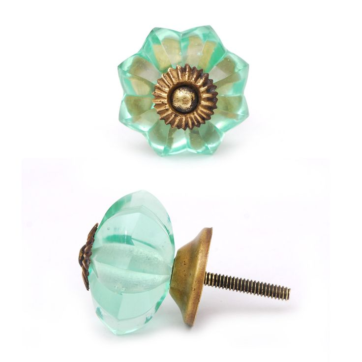 Colorful Glass Knobs Sea Foam Green Glass Flower