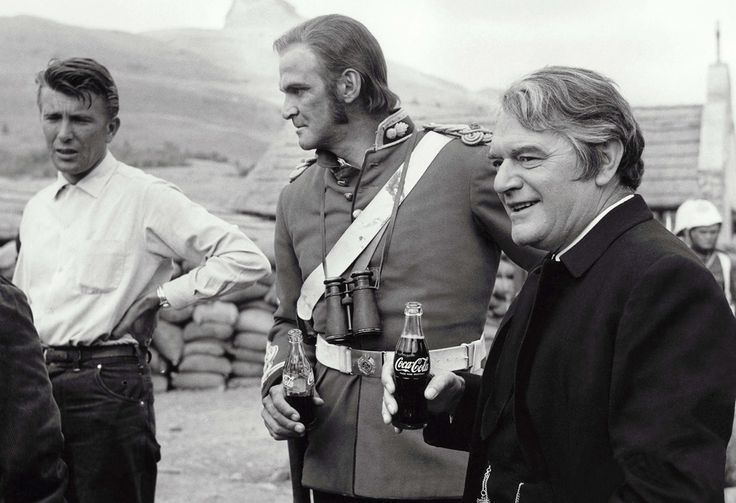 Zulu's Jack Hawkins and actor-producer Stanley Baker take a well-earned break. Shot on location in South Africa, the crew based themselves on th