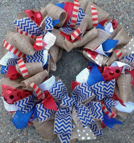 Red White & Blue Burlap Chevron Wreath