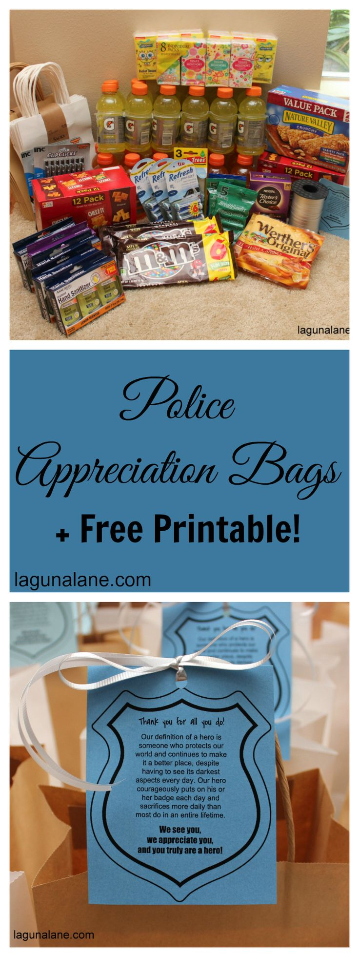 Police Appreciation Bags + FREE Printable Tags Gifts for