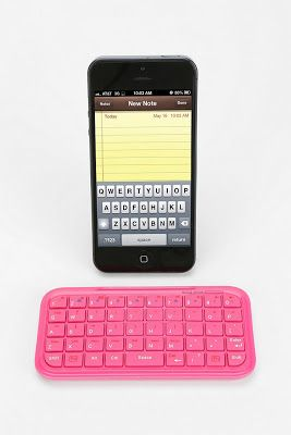 desktop details, office, work, phone, phone accessories, tech, tech accessories, phone keyboard, mini bluetooth keyboard, pink
