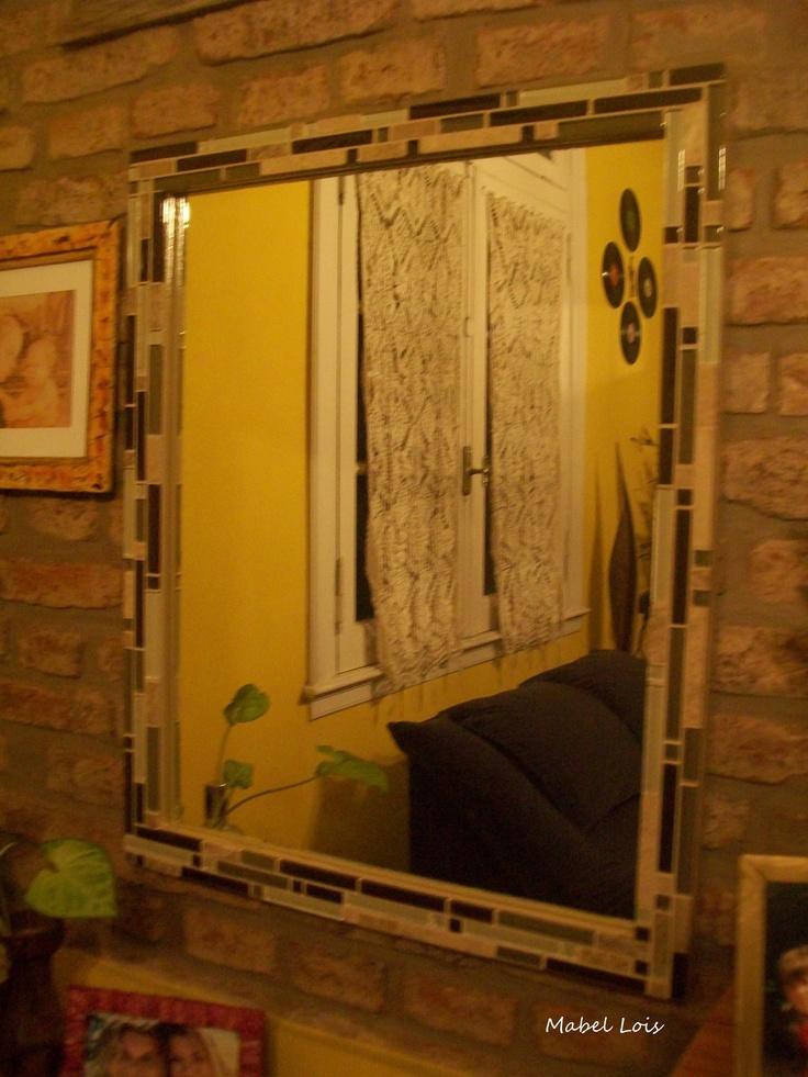 Espejo con guarda sobrante de ba o espejos mosaiquismo for Espejos para banos con guardas
