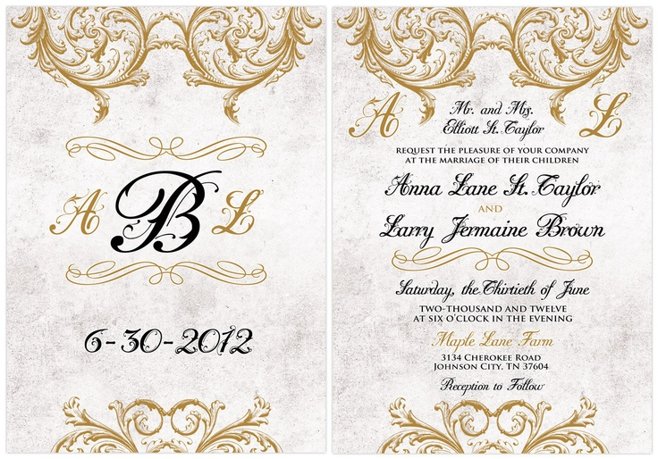 Classic, Elegant Vintage Victorian Wedding Invitations. Custom colors, font styles and wording... FREE. $2.75, via Etsy.