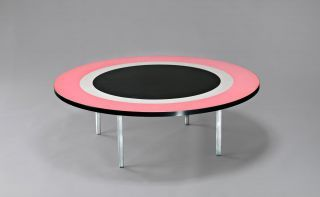 Coffee table designed by Janet Dawson. Dawson developed her 'Living Art' table top series in 1964, at the invitation of Laminex. From the Queensland Art Gallery of Modern Art (GOMA) collection.