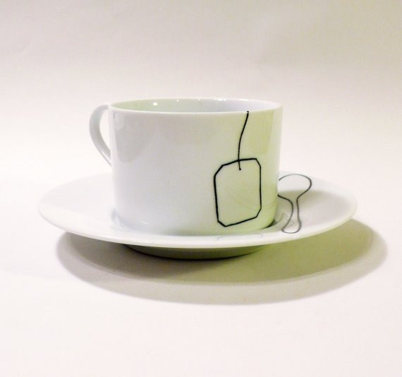 Tea Bag and Tea Spoon Cup and Saucer by baileydoesntbark