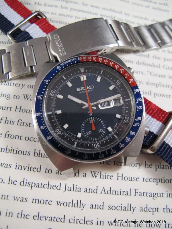 """For Sale - 1975 Seiko 6139-6005 """"Blue Pogue"""" Automatic Chronograph w/Original H-Link Bracelet and NATO Strap"""