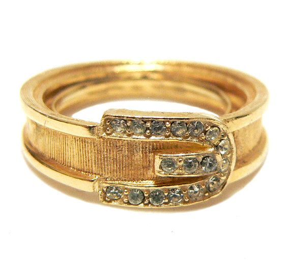 Avon Buckle Ring 1970s Gold And Rhinestone Ring Vintage