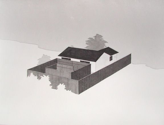 Untitled Backyard (Maze), 2009 - india ink on paper - 16 x 20 inches by Chris Ballantyne