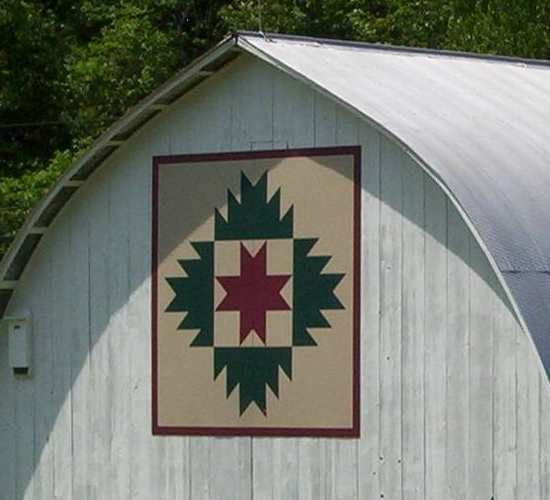 Quilt Barn - 20-11-03Notes:  Photos by Karen Reckner  Greg Hinebaugh's beautiful white-washed barn is the backdrop for a lovely barn quilt!  Pattern: Delectible Mountains  Location:  5440 Sang Run Road  McHenry, MD  21541  Garrett Co - MD